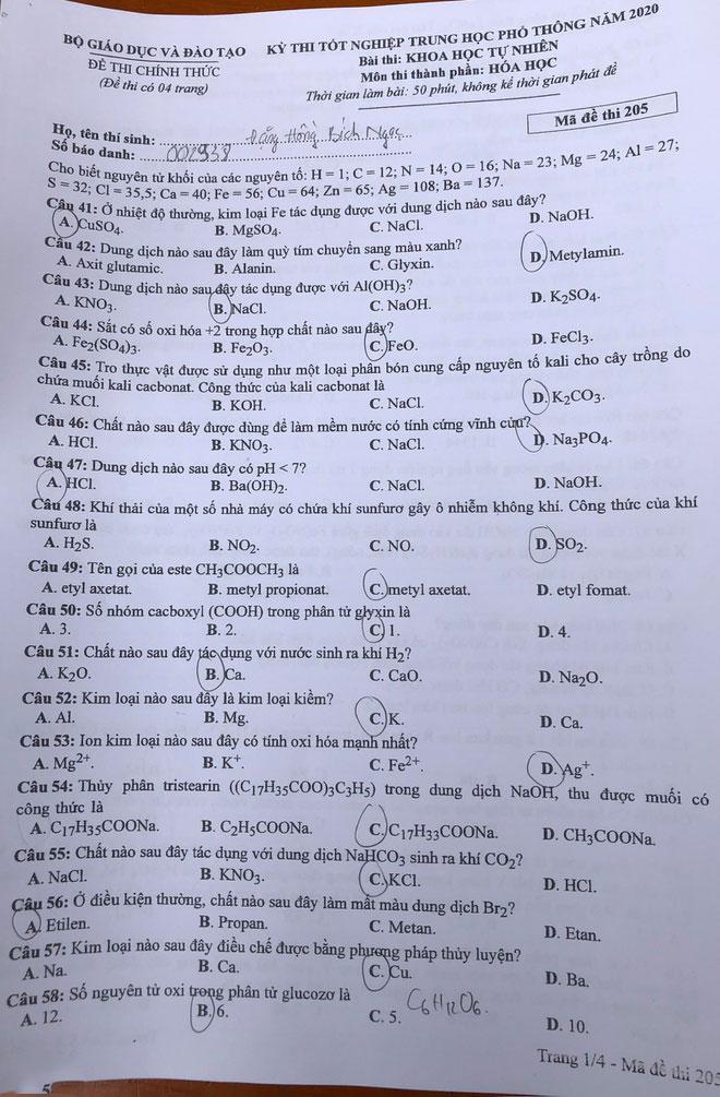 Đề thi và đáp án bài thi môn Hóa học tốt nghiệp THPT